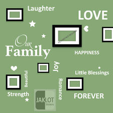 OUR FAMILY Words Wall Art Quote - Vinyl Decal Stickers for Picture Frames