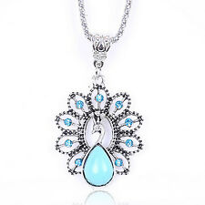SUP New Vintage Turquoise Women Tibetan Silver Bib Crystal Pendant Long Necklace