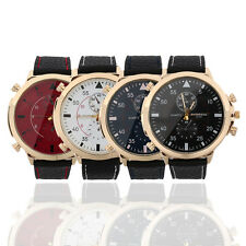Men's Watches Large Display Round Dial Quartz Faux Leather Band Wrist Watch O6