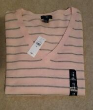 LOVELY LADIES GAP JUMPER PINK WITH GREY STRIPE VARIOUS SIZES BNWT