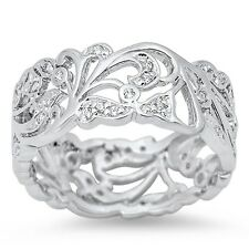Beautiful Cubic Zirconia Vines  .925 Sterling Silver Ring Sizes 4-12