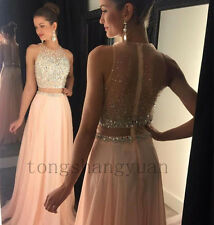 2017 Two Piece Crystal Bead Mermaid Evening Dress Party Pageant Formal Prom Gown