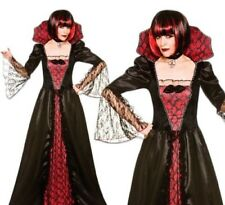Gothic Vampiress Costume Ladies Vampire Halloween Fancy Dress Outfit S-XL