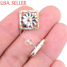 925 Sterling Silver/Yellow Gold Filled 2-tone Flower in Square Pendant/Earring