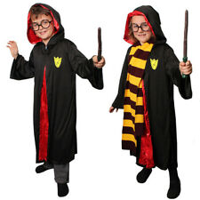 CHILDS WIZARD COSTUME BOYS GIRLS BOOK WEEK FANCY DRESS OPTIONAL GLASSES AND WAND