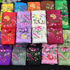 lot 5 pcs Chinese Style Green Handmade Silk Embroidered Jewelry roll Bags Pouch