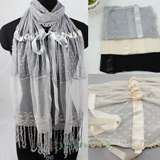 Fashion Women's Floral Embroidery Lace Tulle Mesh Ribbon Tassel Long Scarf New