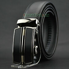Men's Dress Fashion Genuine Leather Adjustable Waist Strap Belt Auto Lock Buckle