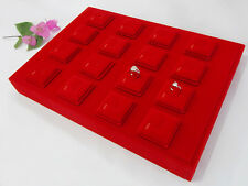 TC Retail Wooden Gold Jewelry Display Tray in Red Velvet Magnet Ring Holder Case