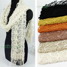 2-Layer Embroidery Floral Mesh Lace Tassel Mantilla Oblong Scarf Princesse Shawl