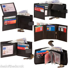 Mens Genuine Real Leather Wallet Black Brown Credit Card Coin Purse Holder