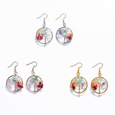 2017 New Tree of Life Natural Stone Round Dangle Crystal Women Drop Earrings