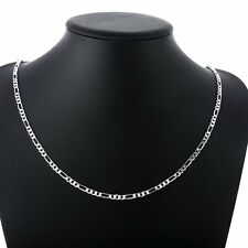Womens 925 Sterling Silver Plated New Fashion Alloy Chain Men Necklace 16-30Inch