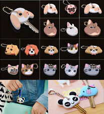 HOT Cute Puppy Pug Cat Rabbit Key Cover Cap Keychain Key Ring PVC Unisex Gift US