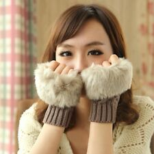 Women Winter Warmer Wool Mittens Fingerless Faux Rabbit Fur Gloves Wrist