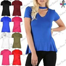 Womens Ladies Polo Turtle Choker Neck Keyhole Cut Cap Sleeve Swing T Shirt Top
