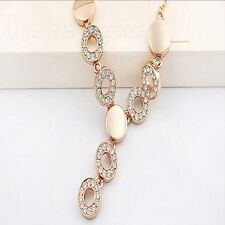 Pendant Party Wedding Jewelry Set 18K Gold Plated Necklace Ring Earrings