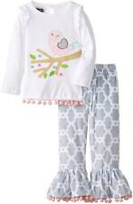Mud Pie Little Chick Collection Tunic Pants Baby Girls Set 1112208 Pink Gray New