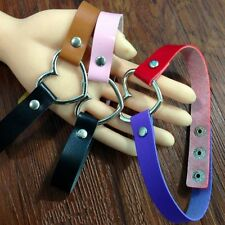Chain Fashion Rivet Funky Punk Goth Collar Choker Necklace Leather Heart