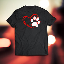 Dog Mom T-Shirt Heart Pet Black Shirts Mother Cute Paw Tee S-3XL