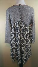 THML Black & White Contrast Swing in Back Long Sleeve Tunic Top Shirt L, Large