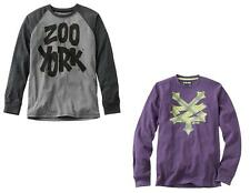 NEW Zoo York Mens Long Sleeve Graphic Tee Purple Thermal or Gray Raglan S M L