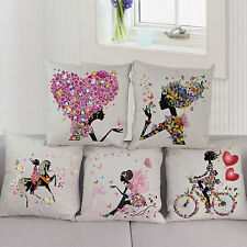 Lovely Girl Cotton Linen Throw Pillow Case Cushion Cover Romantic Home Art Decor