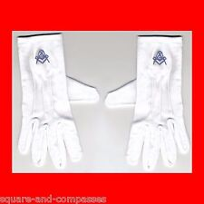☆M MEDIUM BLUE LODGE MASONIC FREE MASON FREEMASON WHITE DRESS GLOVES FREEMASONRY