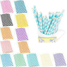25PCS Biodegradable Paper Striped Drinking Straws Birthday Party Tableware Decor