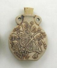 Ceramic Pottery Bottle-Necklace, High Fired Butterfly Design