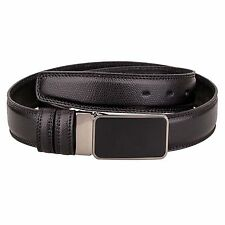 Capo Pelle Saffiano Belt Mens Belts Black buckle Genuine leather Office Dress