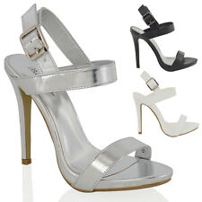 WOMENS STILETTO HIGH HEEL PLATFORM LADIES STRAPPY BUCKLE PARTY SANDALS SHOES 3-8