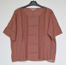 BNWT Next Salmon Pink Pleated Boxy Top with Lace Panels, Size 12, 16, RRP£45