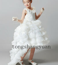 Hi-Lo Flower Girl Dresses Cascading Ruffles Birthday Formal Prom Gowns Pageant
