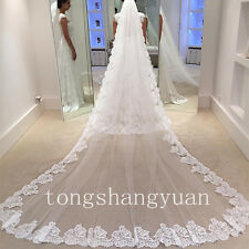 Lace Applique Bridal Veil 1 T Wedding Veils White Ivory Cathedral With Comb New