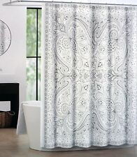 "Tahari Fabric Paisley Shower Curtain ""Eve"" Beige,Gray and Brown 72"" x 72"""