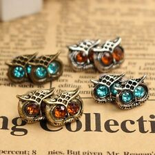 1 Pair Vintage Earrings Retro Fashion Crystal Rhinestone Big Owl Eyes Ear Stud