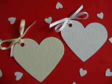 100 HEART  PLACECARDS/GIFT /WISHING TREE/ FAVOUR TAGS WITH OR WITHOUT RIBBON