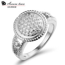 Fashion Halo Ring Engagement Diamond 18K White Gold Plated Round Solitaire Gift