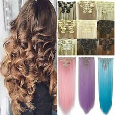 100% Natural Real Full Head Clip in on Hair Extension 8Pcs Long Fake Hair US Frr