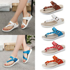 WOMENS LADIES BUCKLE TOE SUMMER BEACH FLAT FLIP FLOP THONG SANDALS  SHOES SIZE