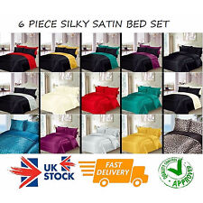 6 PIECE SILKY SMOOTH SATIN BEDDING SET FITTED SHEET + DUVET COVER + 4 PILLOWCASE