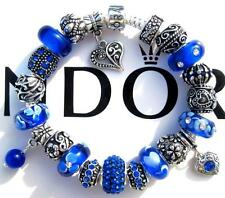 Authentic PANDORA 925 Sterling Silver Bracelet CLEARLY COBALT with Charms AA5