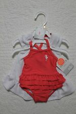 NEW CARTERS BABY GIRLS 2 PIECE SWIM SET ONE PIECE SWIMSUIT WITH COVER SEAHORSE