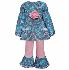 AnnLoren Girls Boutique Floral Damask Tunic and Legging Clothing 12/18 mo - 9/10