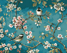 Birds On Cherry Blossom Branch Needlepoint Canvas