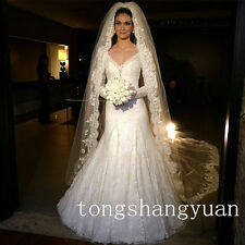 Wedding Veils With Comb 3M 1T Vintage Lace Edge Cathedral White Ivory Veil 2017