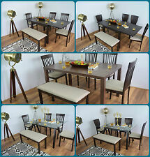Dining Table and 4 Chairs Bench Solid Wood Set Glass Extending Kitchen Furniture