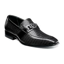 Stacy Adams Mannix Mens shoes Moc toe  slip on Black Leather Dressy 25106-001