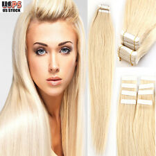 "4A+ 16""-24"" Tape In 20Pcs/40Pcs Skin Weft Real Remy Human Hair Extensions I373"